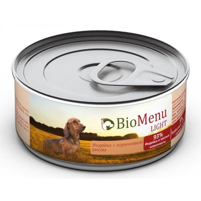 Консервы BioMenu LIGHT для собак индейка с коричневым рисом 93%-мясо , 100гр - Фото 1
