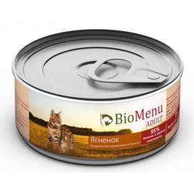 Влажный корм BioMenu ADULT для кошек, мясной паштет с ягненком 95%-мясо, 100 г
