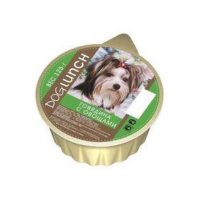 Консервы 'Дог ланч' для собак, крем-суфле с говядина с овощами, ламист., 125 г. Ош