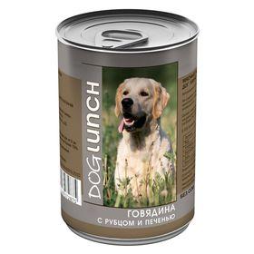 """Консервы """"Дог ланч"""" для собак, говядина с рубцом и печенью в желе, 410 г."""