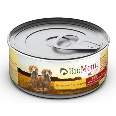 Консервы BioMenu ADULT для собак  цыпленок с ананасами 95%-мясо , 100гр - Фото 1