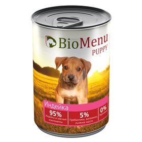 Консервы BioMenu PUPPY для щенков индейка 95%-мясо , 410гр