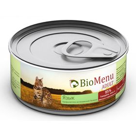 Влажный корм BioMenu ADULT для кошек, мясной паштет с языком 95%-мясо, 100 г
