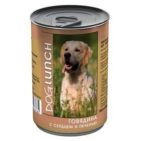 """Консервы """"Дог ланч"""" для собак, говядина с сердцем и печенью в желе, 410 г."""