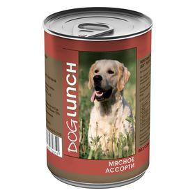 """Консервы """"Дог ланч"""" для собак, мясное ассорти в желе, 410 г."""