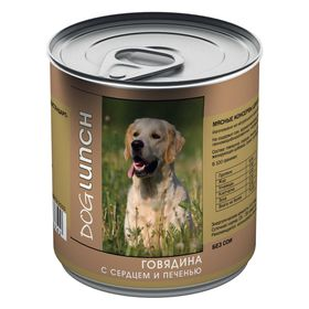 """Консервы """"Дог ланч"""" для собак, говядина с сердцем и печенью в желе, 750 г."""