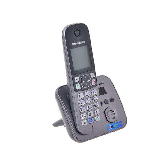 Радиотелефон Panasonic Dect KX-TG6821RUM, автоответчик, АОН, серый металлик