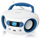 Аудиомагнитола BBK BS15BT белая/голубая 2Вт/MP3/FM(dig)/USB/BT