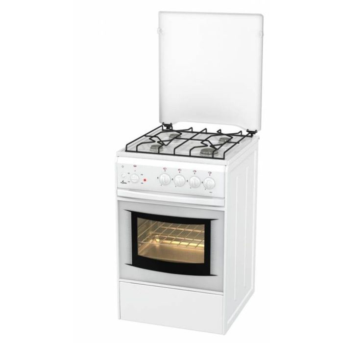 Плита Flama AK 1411 W, газовая, 4 конфорки, 50 л, электрическая духовка, белая
