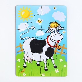 Пазл «Корова на лугу», 6 элементов, размер детали: 5 × 4,6 см Ош