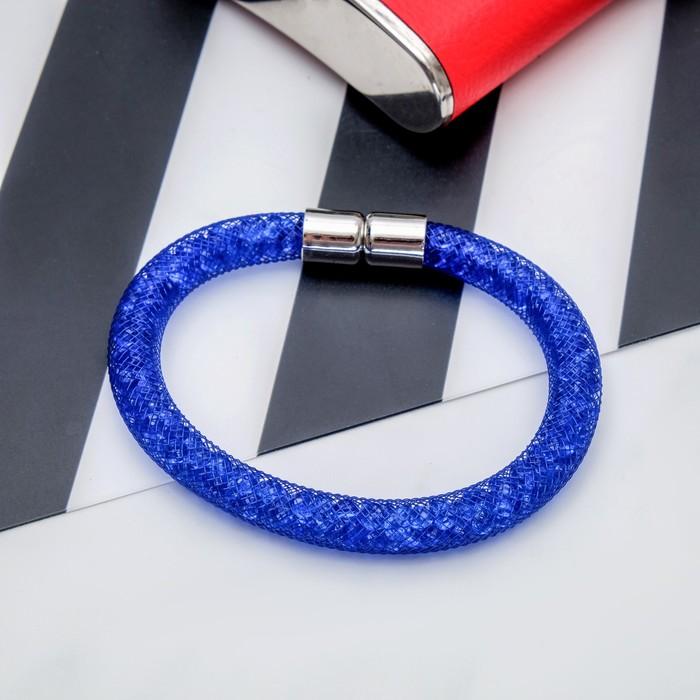 Браслет со стразами Стардаст стиль, цвет синий, 21,5см