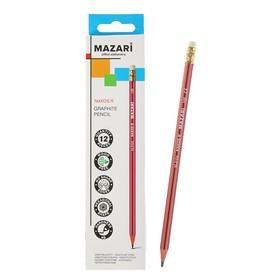 Карандаш чернографитный Mazari Naxos R, HB, пластиковый, с ластиком