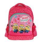 Рюкзак школьный эргономичная спинка для девочки «Миньоны» 37*30*15 Universal Studios, розовый 31901