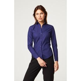 Рубашка женская с рельефами, размер 48, синий, хлопок 100% Ош