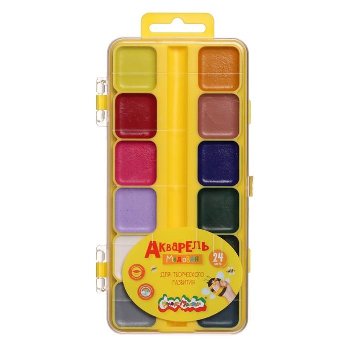 Акварель 24 цвета «Каляка-Маляка», медовая, без кисти, пластик