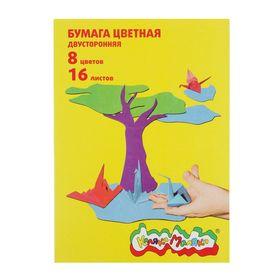 Бумага цветная двусторонняя А4, 16 листов, 8 цветов «Каляка-Маляка»