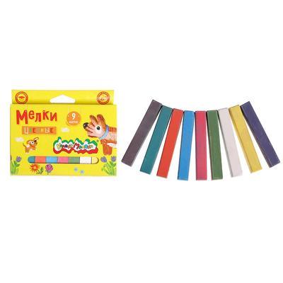 Мелки цветные в наборе 9 штук, «Каляка-Маляка», квадратные - Фото 1