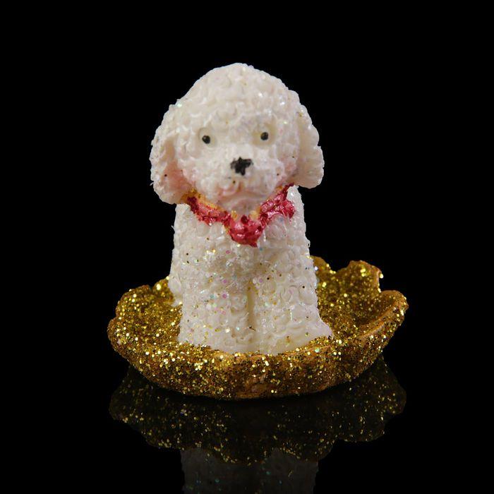 Сувенир полистоун Пудель на золотых монетках МИКС 3х2,8х3,8 см