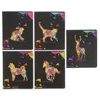 Тетрадь 48 листов в клетку «Животные из цветных треугольников», двойной УФ-лак, МИКС