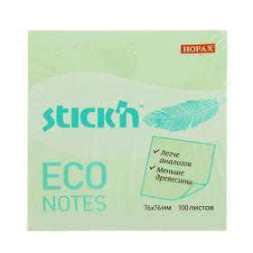 Блок с липким краем Hopax ECO, 76 x 76 мм, 100 листов, пастель, зелёная