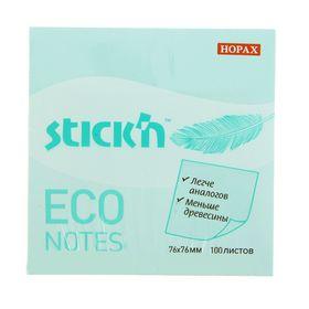 Блок с липким краем Hopax ECO, 76 x 76 мм, 100 листов, пастель, голубая