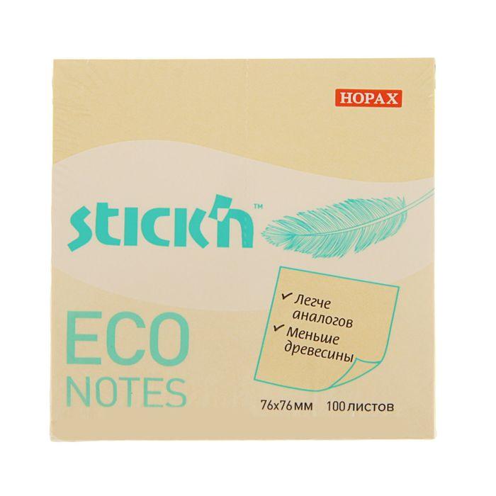 Блок с липким краем Hopax ECO, 76 x 76 мм, 100 листов, пастель, жёлтая