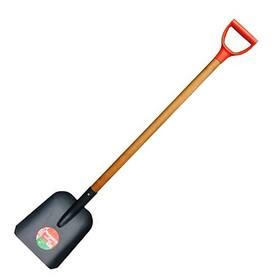 Лопата совковая, толщина штыка 1.6 мм, рёбра жесткости, деревянный черенок, с ручкой