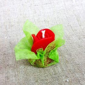 Свеча ароматическая «Бутон розы», ручная работа, красная, 4.5 х 3.5 см Ош
