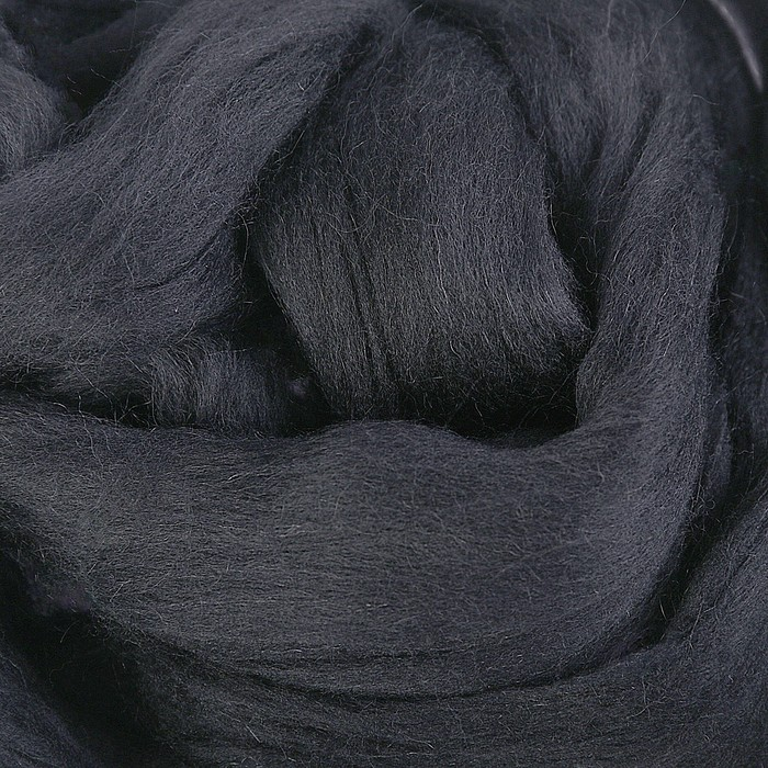 Гребенная лента 100% полутонкая шерсть 100гр (0140, черный)