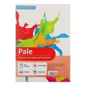 Бумага цветная А4, 50 листов Calligrata Пастель, 80 г/м², оранжевая Ош