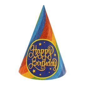 Колпак бумажный 'С Днем рождения' радуга Ош