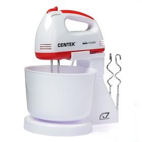 Миксер Centek CT-1113, стационарный, 200 Вт, 2 л, 7 скоростей, турбо-режим, бело-красный