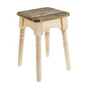 Табурет 'Классика',натуральная сосна сиденье обожжённое брашированное под старину Ош