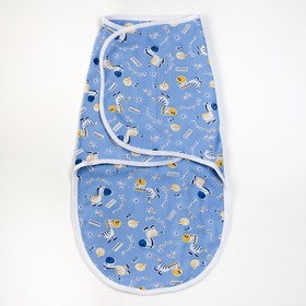 Пеленка-кокон на липучках, рост 50-62 см, кулирка, цвет голубой, принт микс 1139_М