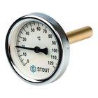 """Термометр STOUT, биметаллический, с погружной гильзой 75 мм 1/2"""", корпус Dn 63 мм"""