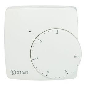 Термостат проводной электронный STOUT, WFHT-BASIC, со светодиодом, норм. открытый Ош