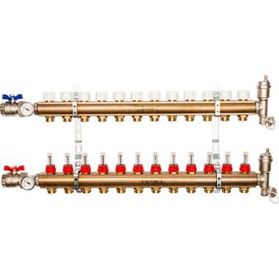 Распределительный коллектор STOUT, латунь с расходомерами 12 выходов