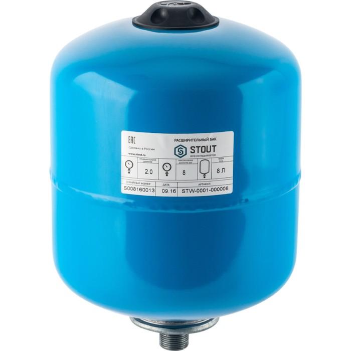Гидроаккумулятор STOUT, для системы водоснабжения, вертикальный, 8 л