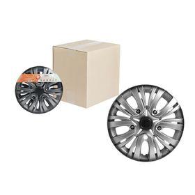 Колпаки колесные 14' 'Лион +', серебристо-черный, карбон, 2 шт Airline AWCC-14-02 Ош