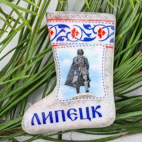 Магнит в форме валенка «Липецк. Пётр I» Ош