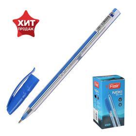 Ручка шариковая Flair Noki, полосатый корпус, узел-игла 0.5 мм, масляная основа., стержень синий