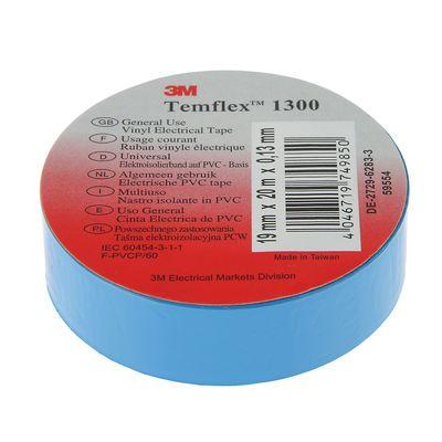 Изолента 3М Temflex 1300, ПВХ, 19 мм x 20 м, 130 мкм, синяя