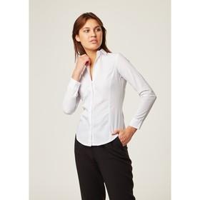 Рубашка женская с рельфами, размер 40, цвет белый, 65% хлопок + 35% п/э Ош