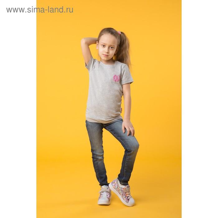 Футболка для девочки, цвет светло-серый меланж ZG 02525-M-1, рост 104 см