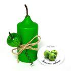 Свеча цилиндр ароматическая «АРОМА» с декором, зелёное яблоко, 8.5 х 4 см