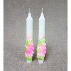 """Набор Свадебных свечей """"Объёмные розы"""" 2шт/уп салатово-розовые"""