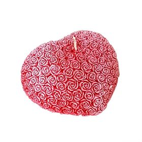 Свеча 'Ручная работа' сердце из роз красное 7х8 Ош
