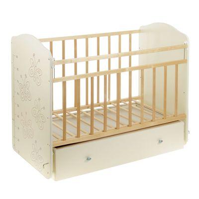 Детская кроватка «Морозко. Бабочки» с ростомером, на маятнике, с ящиком, цвет белый/берёза - Фото 1