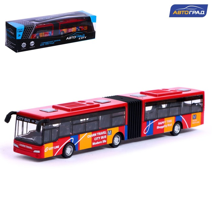 """Автобус металлический """"Городской транспорт"""", инерционный, масштаб 1:64"""