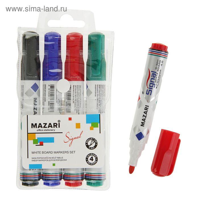 Набор маркеров для доски 4 цвета 4.0 мм MAZARI Signal